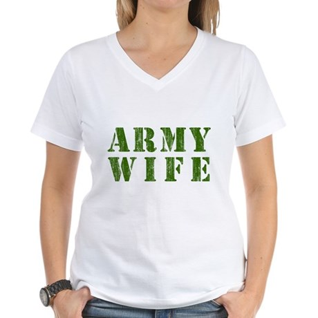 Army Wife Womens V-Neck T-Shirt
