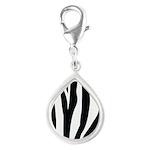 Zebra Striped animal Silver Teardrop Charm