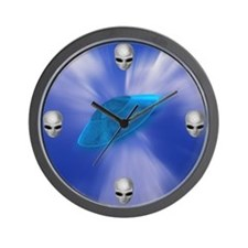 Warp Speed UFO with Alien Faces Wall Clock