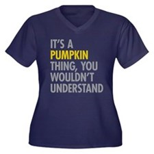 Its A Pumpki Women's Plus Size V-Neck Dark T-Shirt