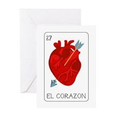 El Corazon Loteria Card Greeting Cards