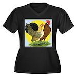 Red Quill Chickens Women's Plus Size V-Neck Dark T