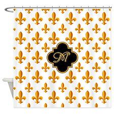 Fleur-de-lis Monogram Shower Curtain