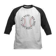 Hit Hard Run Fast Turn Left Baseball Jersey