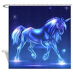 Glass Unicorn Fantasy Blue Shower Curtain