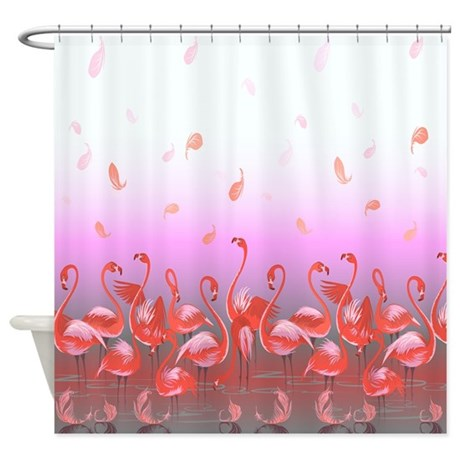 Bright Pink Flamingos In Pond Shower Curtain