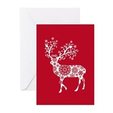 White Christmas deer Greeting Cards