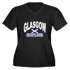 Glasgow Scotland Women's Plus Size V-Neck Dark T-S
