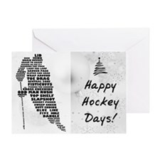 Hockey Player Typography Greeting Card