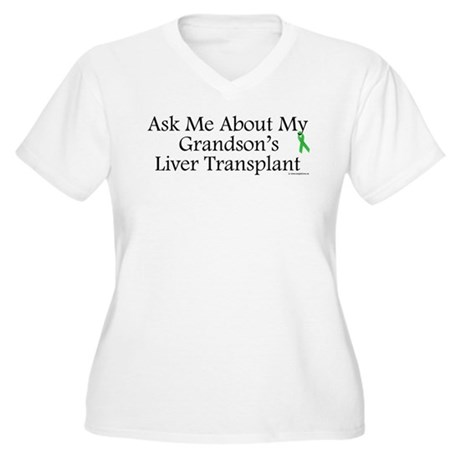Ask Me Grandson Liver Women's Plus Size V-Neck T-S