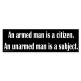 Armed Man Bumper Car Sticker