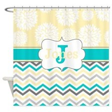 Cute Yellow gray Shower Curtain
