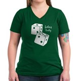 Lucky Dice Women's V-Neck Dark Tee - white dice