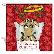 Vegan Reindeer Angel Shower Curtain