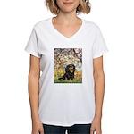 TILE-Spring-Cav-Blk-Tan.png Women's V-Neck T-Shirt