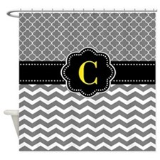 Gray Black Quatrefoil Chevron Monogram Shower Curt