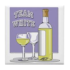 Team White Wine Tile Coaster