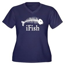 I Fish Women's Plus Size V-Neck Dark T-Shirt