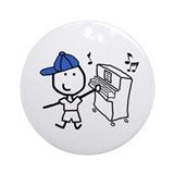 Boy &amp; Piano Ornament (Round)