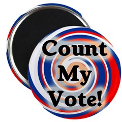 Round Count My Vote Patriotic Swirl Magnet