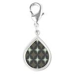 Retro 60's Diamond Geometri Silver Teardrop Charm