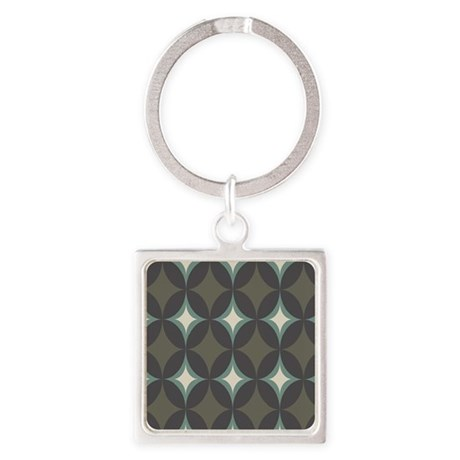 Retro 60's Diamond Geometric Square Keychain
