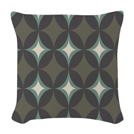 Retro 60's Diamond Geometric Woven Throw Pillow