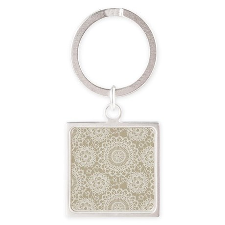 Champagne Lace crochet style Square Keychain