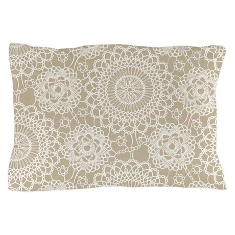 Champagne Lace crochet style Pillow Case