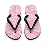 Pink Lace Doily Flip Flops