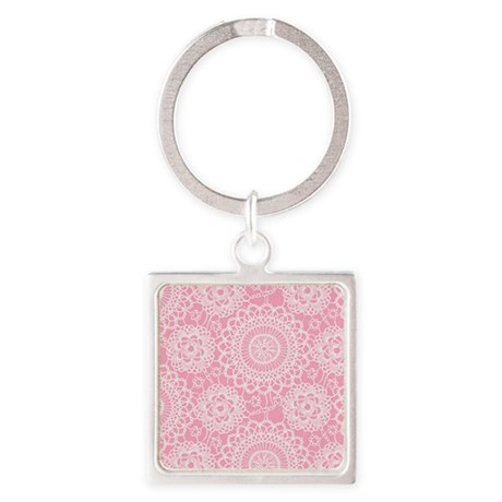 Pink Lace Doily Square Keychain