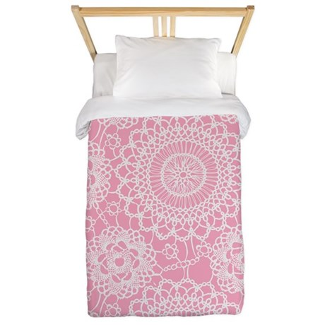 Pink Lace Doily Twin Duvet