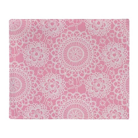 Pink Lace Doily Throw Blanket