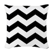 Black And White Chevron Woven Throw Pillow