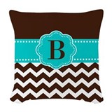 Brown and teal Throw Pillows