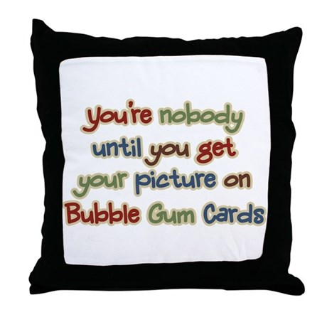 Baseball Bubble Gum Card Collector Throw Pillow