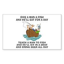 Teach A Man To Fish Rectangle Sticker