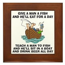 Teach A Man To Fish Framed Tile