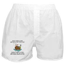 Teach A Man To Fish Boxer Shorts