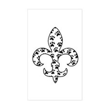 Fleur de lis Paws Rectangle Decal