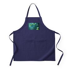 Floral Green Swirls Design Apron (dark)
