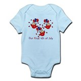 Triplet 4th of July Red baby bodysuits