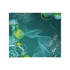 Floral Green Swirls Design Throw Blanket