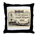 Gold Express Clipper Ships Throw Pillow