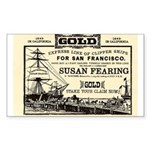 Gold Express Clipper Ships Rectangle Sticker