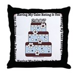 2007 Wedding Cake Wedding Gift Blue Brown Pillow