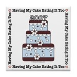2007 Wedding Gift Cake Blue Brown Tile Coaster