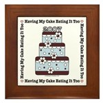 2007 Wedding Cake Gift Blue Brown Framed Tile