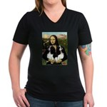 Mona's 2 Cavaliers Women's V-Neck Dark T-Shirt