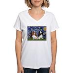Starry Cavalier Pair Women's V-Neck T-Shirt